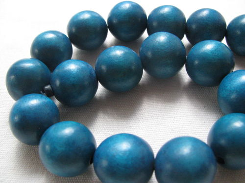 Wooden bead, 20mm, turquoise, 20 pcs