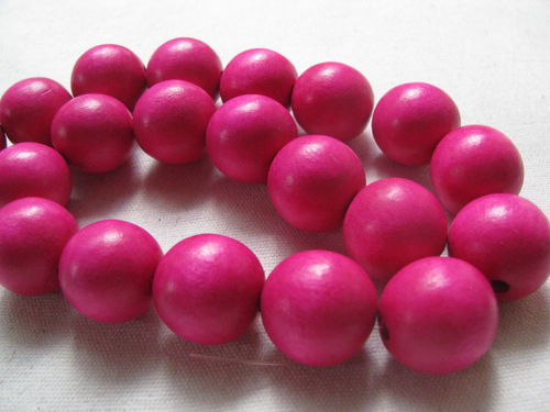 Wooden bead, 20mm, bright pink, 20 pcs