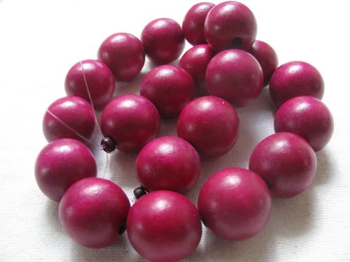 Wooden bead, 20mm, burgundy, 20 pcs