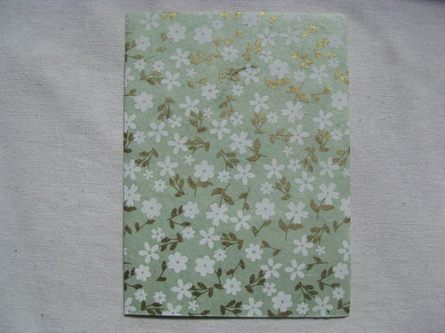 Card set, green small flowers, 5 pcs