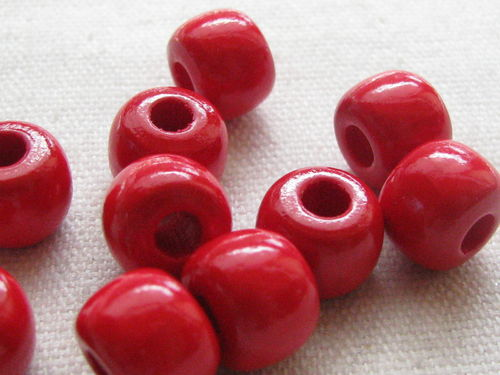 Wooden bead, big hole, 10/8mm, red, 39 pcs