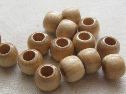 Wooden bead, big hole, 10/8mm, natural, 39 pcs