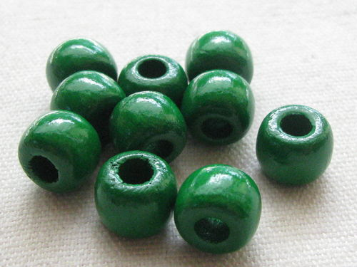 Wooden bead, big hole, 10/8mm, green, 39 pcs