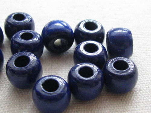 Wooden bead, big hole, 10/8mm, blue, 39 pcs