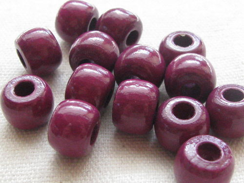 Wooden bead, big hole, 10/8mm, nauve, 39 pcs