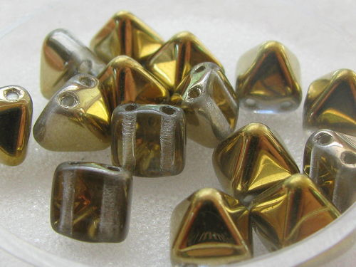 Pyramid, glass bead, 6x6mm, 2 holes, half gold metallic, 15 pcs