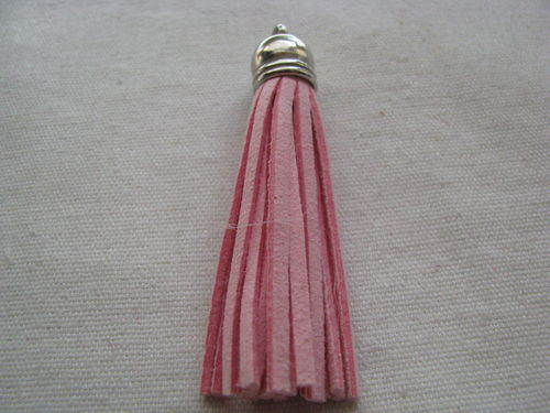 Tassel, suede, 70mm, light pink, silver colour cup, 1 pcs