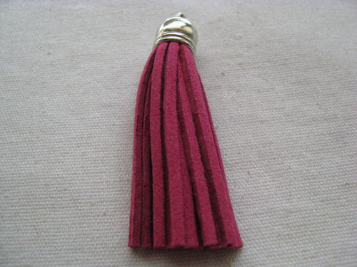 Tassel, suede, 70mm, fuchsia, silver colour cup, 1 pcs