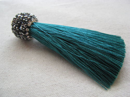 Tassel, 65mm, shamballa, silk, green, 1 pcs