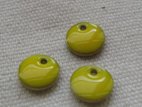 Enamel, flat round, 8mm, yellow, 1 pcs