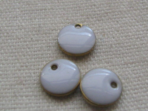 Enamel, flat round, 8mm, white, 1 pcs