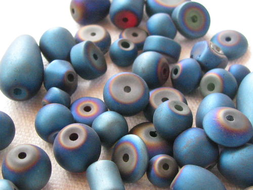Glass bead, metal shine, matt mix, blue, 40gr