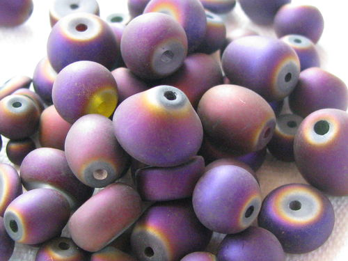 Glass bead, metal shine, matt mix, purple, 40gr