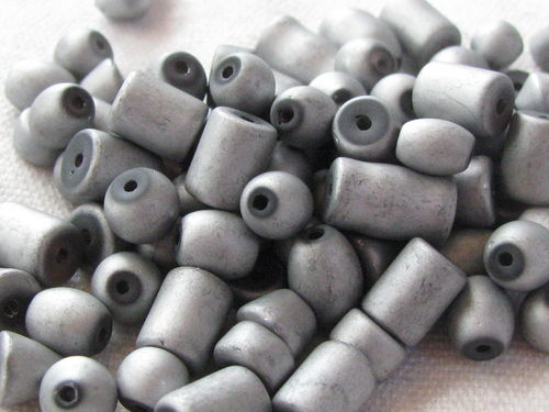 Glass bead, metal shine, matt mix, silver, 40gr