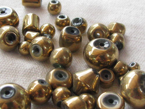 Glass bead, metal shine, mix, gold, 20gr
