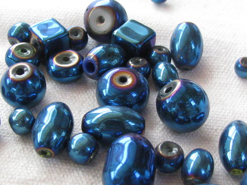 Glass bead, metal shine, mix, blue, 20gr