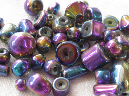 Glass bead, metal shine, mix, 20gr