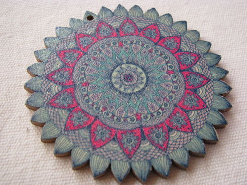 Mandala pendant, wood, 6cm, pointed, blue,1 pcs