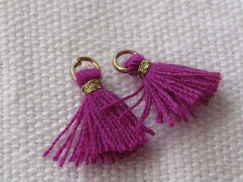 Mini tassel, 10mm, lila purple, 4 pcs