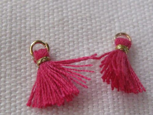 Mini tassel, 10mm, pink, 4 pcs