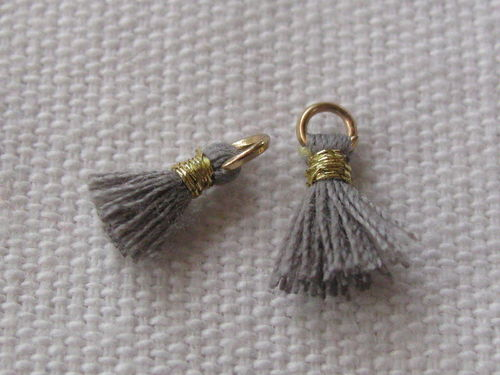 Mini tassel, 10mm, grey, 4 pcs
