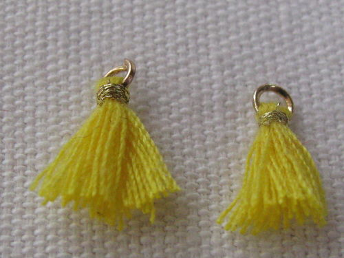 Mini tassel, 10mm, yellow, 4 pcs