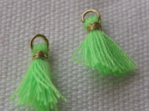 Mini tassel, 10mm, neon green, 4 pcs