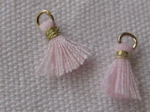 Mini tassel, 10mm, light pink, 4 pcs