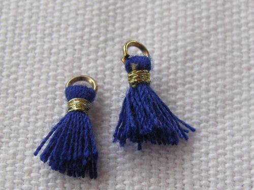Mini tassel, 10mm, dark blue, 4 pcs