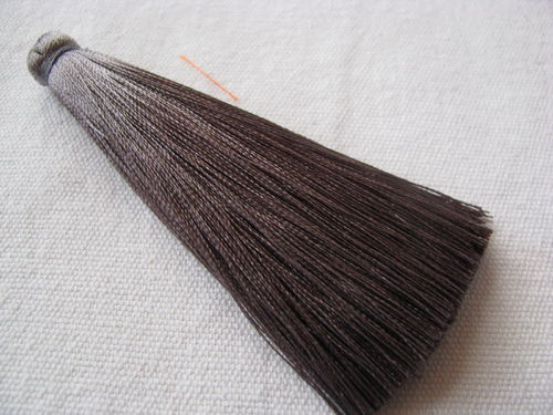 Tassel, polyester, 80mm, 1cm thick, grey, 1 pcs
