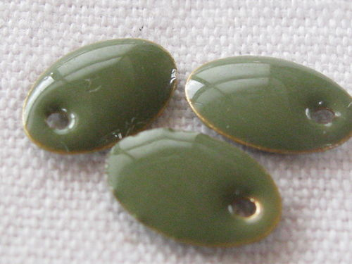Enamel, flat oval, 9x13mm, khaki, 1 pcs