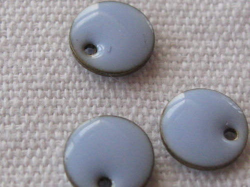 Enamel, flat round, 8mm, sky blue, 1 pcs