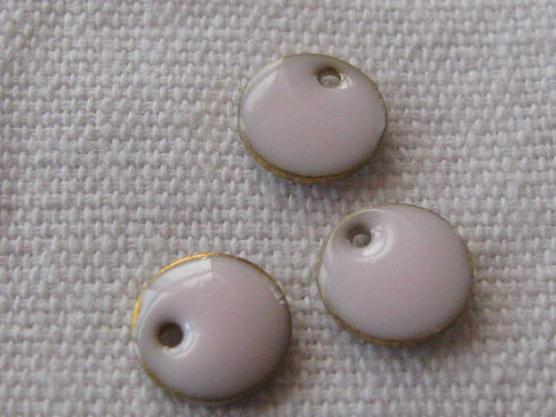 Enamel, flat round, 8mm, light rose, 1 pcs
