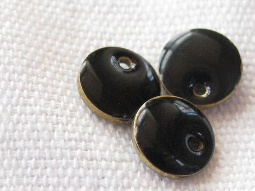 Enamel, flat round, 8mm, black, 1 pcs