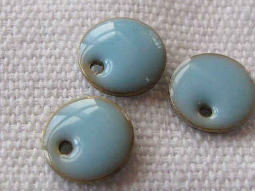 Enamel, flat round, 8mm, light turquoise, 1 pcs