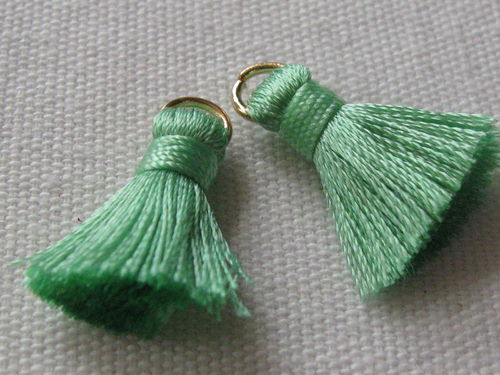 Tassel, thick mini, 20mm with ring, light green, 2 pcs