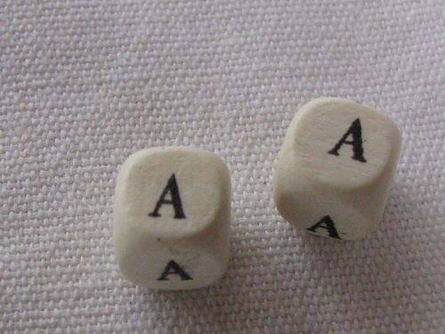 Wooden bead, cube 9x9mm, A letter, 1 pcs