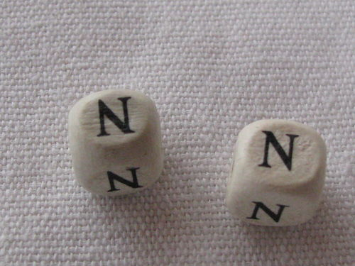 Wooden bead, cube 9x9mm, N letter, 1 pcs