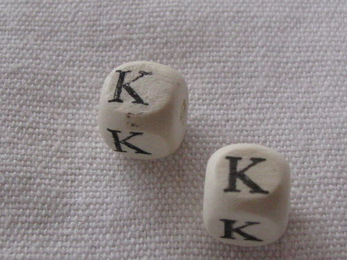 Wooden bead, cube 9x9mm, K letter, 1 pcs