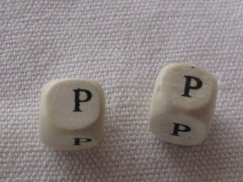 Wooden bead, cube 9x9mm,P letter, 1 pcs