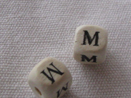 Wooden bead, cube 9x9mm, M letter, 1 pcs