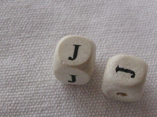 Wooden bead, cube 9x9mm, J letter, 1 pcs