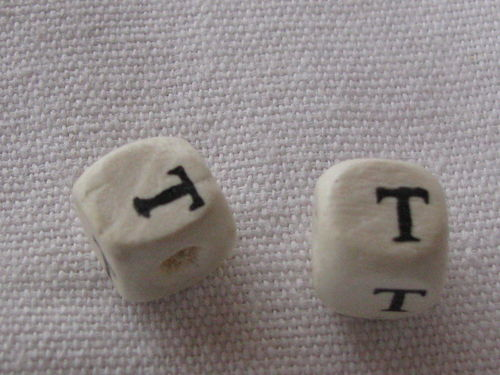 Wooden bead, cube 9x9mm, T letter, 1 pcs