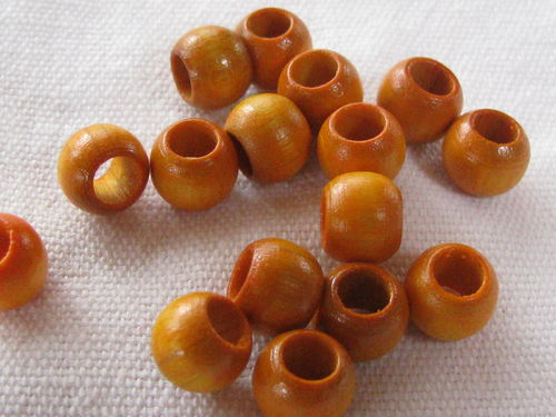 Wooden bead, big hole, 8x6mm, yellow, 16 pcs