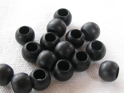 Wooden bead, big hole, 8x6mm, black, 16 pcs