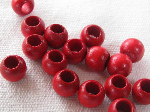 Wooden bead, big hole, 8x6mm, red, 16 pcs