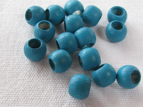 Wooden bead, big hole, 8x6mm, turquoise, 16 pcs