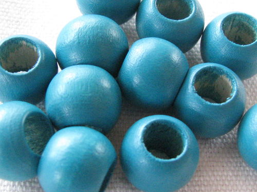 Wooden bead, big hole, 12x9mm, turquoise, 12 pcs