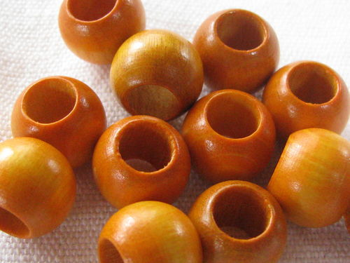 Wooden bead, big hole, 12x9mm, yellow, 12 pcs