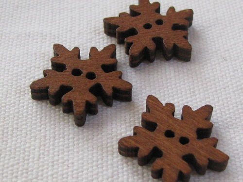 Button, wood, snow flake, 18mm, 1 pcs